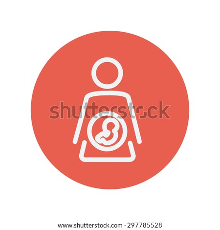 Baby fetus in mother womb thin line icon for web and mobile minimalistic flat design. Vector white icon inside the red circle - stock vector