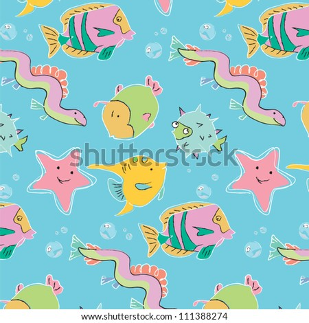 Baby fish in soft colors - marine life. Potter Children's Maritime