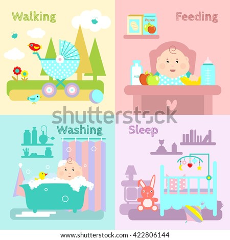 Baby flat icon set things that a child needs walking feeding washing and sleep vector illustration