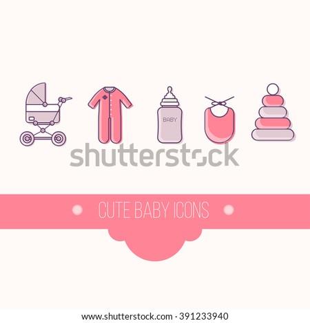 baby flat icon set vector. Baby symbol. Baby bottom. Baby logo.  Baby emblem. Baby label. Baby badge. - stock vector