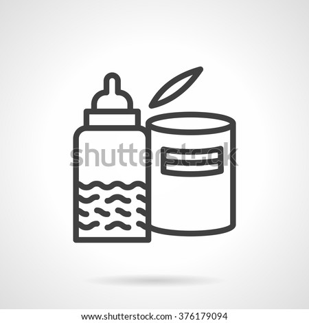 Baby food theme. Nipple bottle with milk or juice and can with milk formula. Healthy nutrition. Vector icon simple black line style. Single design element for website, business. - stock vector