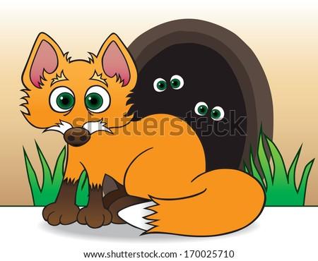 Baby Fox - stock vector