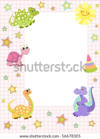 Baby frame or invitation, for girls - stock vector