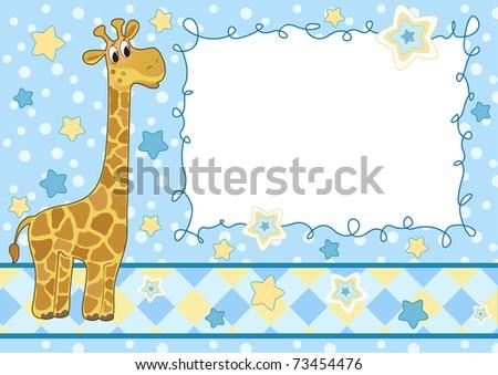 Baby frame with giraffe. Arrival card. Vector illustration. - stock vector