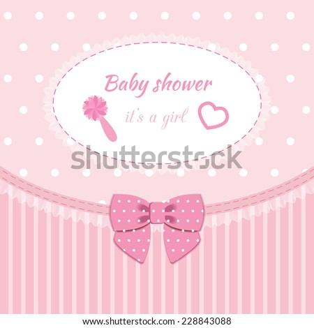baby frame with lace, ruffles, on pink background - stock vector