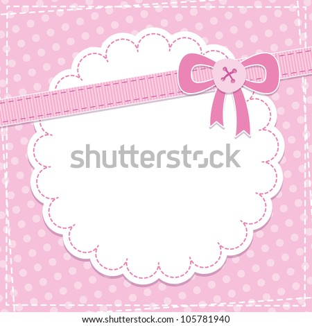 baby frame with pink bow and button - stock vector