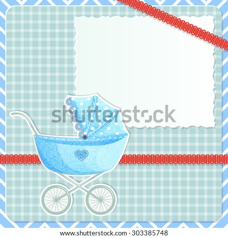 Baby frame with stroller and cards and red ribbon on plaid background - stock vector