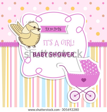 Baby frame with with lace and stroller on striped background and polka dots - stock vector