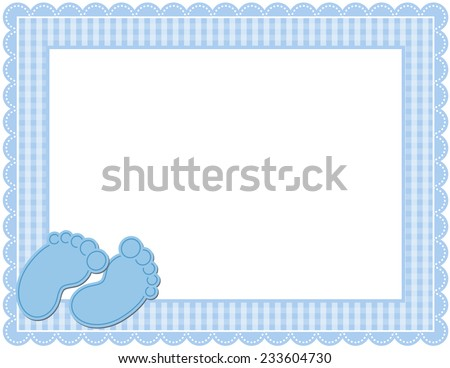 Baby Gingham Frame-Gingham patterned frame with scalloped border designed in Baby themed colors with cute baby feet accents - stock vector