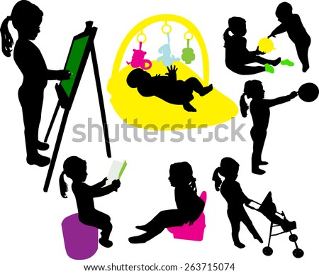 Baby girl and baby playing vector silhouettes - stock vector