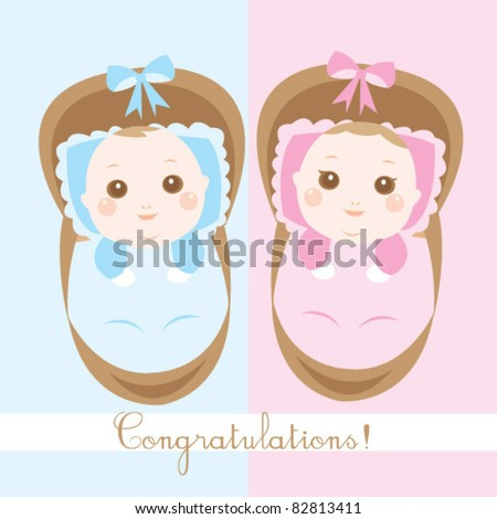 baby girl and boy - stock vector