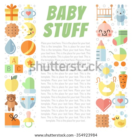 Baby (girl and boy) stuff flat multicolored cute vector background with place for your text. Modern minimalistic design.