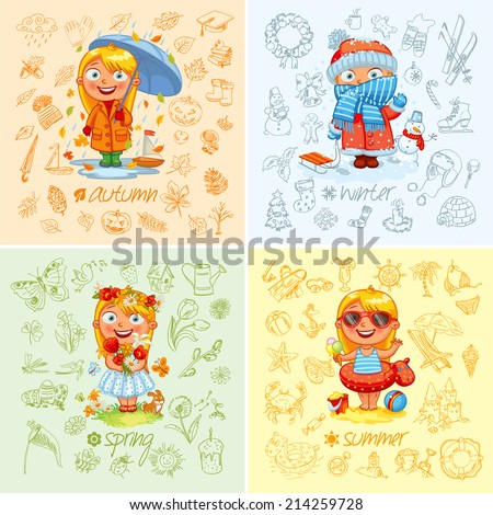 Baby girl and the four seasons. Freehand drawing autumn, winter, spring, summer items on a sheet of exercise book. Vector illustration. Set - stock vector
