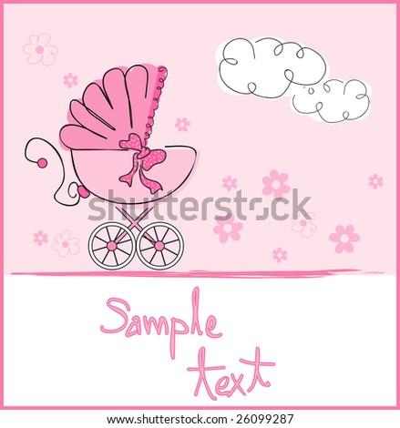 baby girl arrival - stock vector