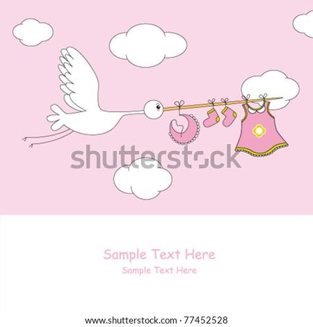 Baby girl arrival announcement - stock vector