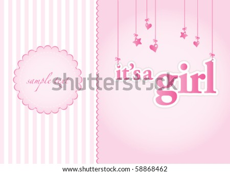 Baby Girl Arrival Announcement Card Perfect Vector 58868456 – Announcement of Baby Girl