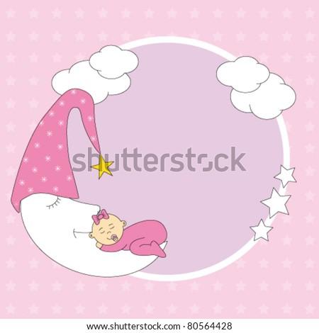 Baby girl arrival announcement card. photo frame. baby sleeping on the moon - stock vector