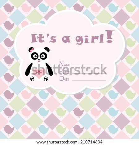 Baby girl arrival card. Baby shower card. Newborn baby card with panda, silhouette owls and rhombs. Vector illustration. The text is drawn, the text can be removed.  - stock vector