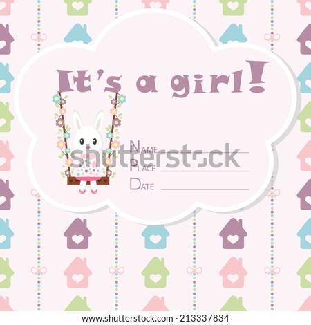 Baby girl arrival card. Baby shower card. Newborn baby card with rabbit, colorful houses and bows on a colorful strips background. Vector illustration. The text is drawn, the text can be removed.  - stock vector
