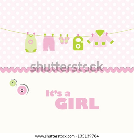 baby girl arrival card. Baby shower card with copy space - stock vector