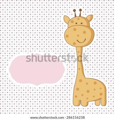 Baby girl arrival card with cute giraffe on polka dot seamless pattern. - stock vector