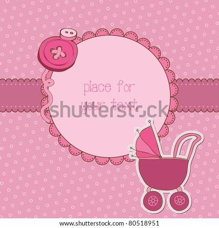 Baby Girl Arrival Card with Photo Frame and place for your text in vector - stock vector