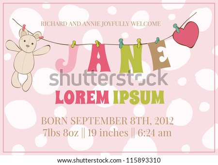 Baby Girl Arrival Card with place for your text and baby name  - in vector - stock vector