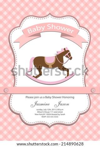 baby girl baby shower invitation card. Vector eps10,illustration. - stock vector