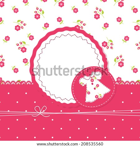 Baby girl background with dress - stock vector