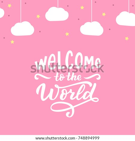 baby girl background hand drawn lettering stock vector royalty free