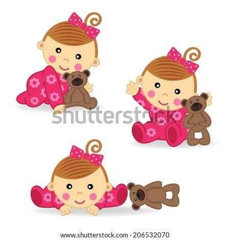 baby girl bear action - vector  illustration, eps  - stock vector