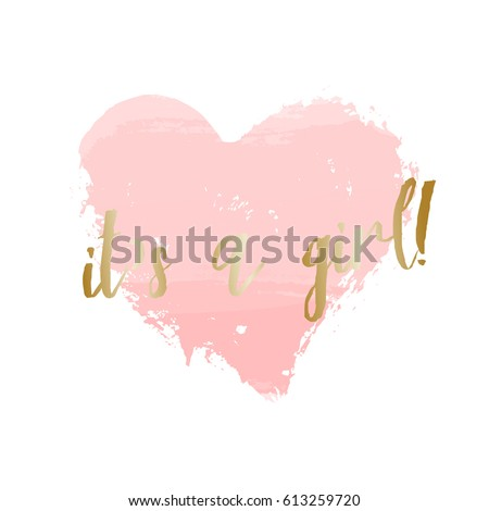 Baby Girl Birth Announcement/baby Shower Card Design With A Pastel Pink  Heart And Gold
