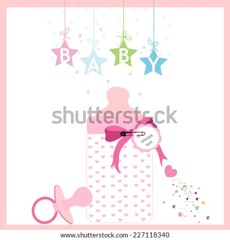 Baby girl bottle and soother vector greeting card  - stock vector