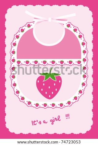 Baby girl card announcement with bib and strawberries into frame - stock vector