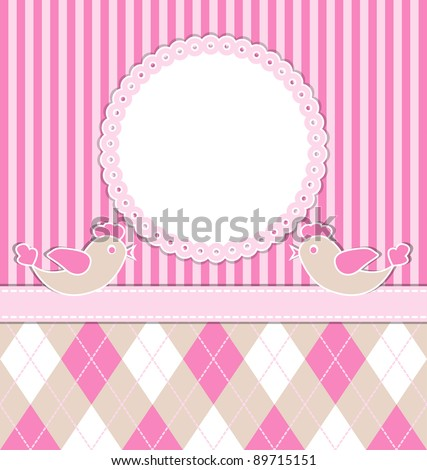 Baby girl card with birds and pink stripes. Vector illustration. eps10 - stock vector