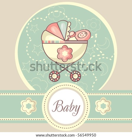 Baby girl card with carriage - stock vector