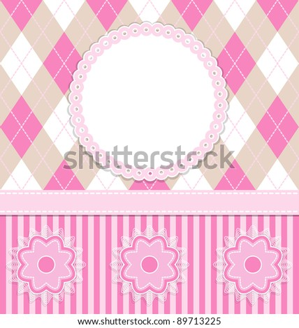 Baby girl card with flowers and pink stripes. Vector illustration. eps10 - stock vector