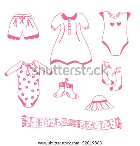 Baby girl garments set sketch - stock vector