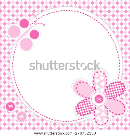 Baby girl greeting card with flower and butterfly - stock vector