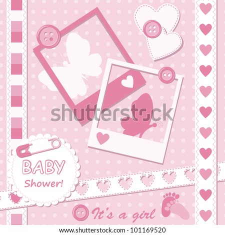 Baby girl greeting card with photo frame - stock vector