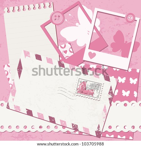Baby girl greeting card with photo frame and envelope - stock vector