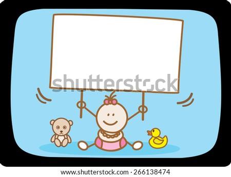 baby girl holding banner - stock vector