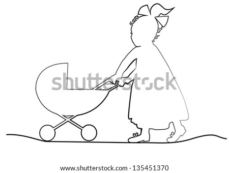 baby girl in a long dress with a ribbon pulls toy pram - stock vector