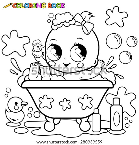 baby girl in a tub taking a bath black and white coloring page - Baby Girl Coloring Pages
