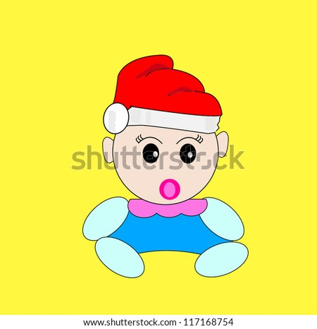 baby girl in christmas hat