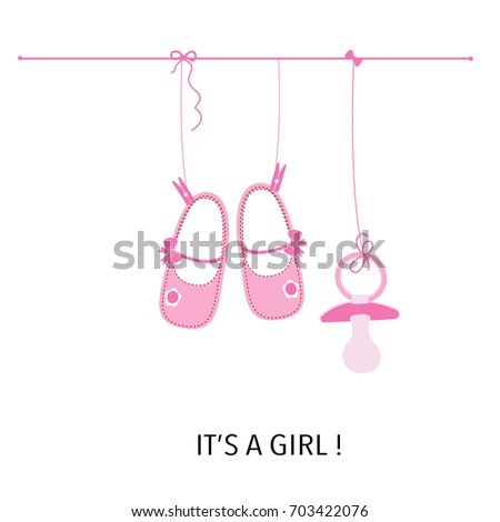 Baby girl girl baby shower greeting stock vector 703422076 baby girl its a girl baby shower greeting card with baby shoes and soother m4hsunfo