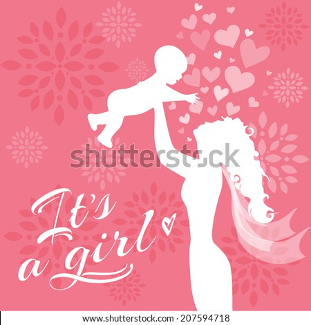Baby girl newborn blue card - stock vector