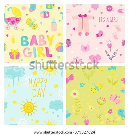 Baby Girl Seamless Background Set - for design and scrapbook - in vector