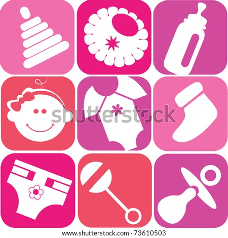 baby girl set, toys and accessories - stock vector