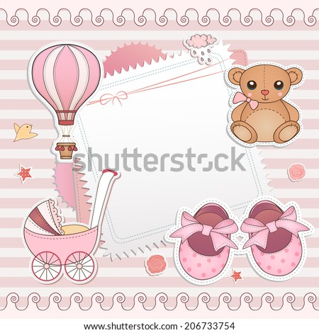 Baby girl shower card. Arrival card with place for your text. - stock vector